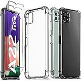 Ferilinso für Samsung Galaxy A22 5G Hülle + 2 Stück Panzerglas Schutzfolie [Transparent Silikon Handy Hüllen] [Stoßfest Kratzfest ] [Shock Absorption Schutzhülle]