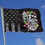 Elaine-Shop Outdoor Flags Abgenutzte USA Flagge Frieden und Liebe Krawatte Farbstoff Friedenszeichen 4 * 6 Ft Flagge für Wohnkultur Sport Fan Fußball Basketball Baseball Hockey