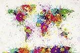 Close Up Michael Tompsett World Map Drop Paint - XXL Weltkarte in Wasserfarben Riesenposter 140 x 100 cm