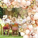 96 Stück Luftballons Hochzeit Rosegold Girlande Einschulung geburtstag latexballons Folienballon Konfetti Ballons für Halloween Weihnachten Baby-Duschen,Graduierung, Valentinstag, Jubiläum Party Dekor