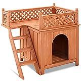 COSTWAY Katzenhaus Hundehütte Holz, Hundehaus mit Treppe zweistöckig, Kleintierhaus für Draußen, Katzenhütte Katzenhöhle für Hunde und Katzen 66x64x56cm