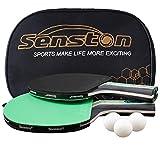 Senston Tischtennis Set, 2 Tischtennisschläger, 3 Tischtennis-Bälle und 1 Tasche Ideal für Studenten, Anfänger, Training, Familienunterhaltung