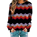 Genorsk Damen Sweatshirt Farbblock Gradient Striped Wave Rundhals Langarm Große Größe T-Shirt Workout Oberteil (S-3XL)