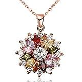 Winter's Secret Full Bloom Halskette mit Anhänger in Blumenform, Zirkonia, Rotgold vergoldet