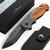 BERGKVIST® 3-in-1 Taschenmesser K20 Zweihand-Messer darf geführt Werden I scharfes Klappmesser I Survival Knife & Outdoor-Messer mit Holzgriff inkl. Schleifstein & Gü