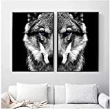 Wandkunst Bild Wolfskopf Tierplakat Nordischer Stil Schwarz Weiß Leinwanddruck Gemälde Skandinavische Moderne Wohnraumdekoration