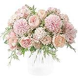 KIRIFLY Künstliche Blumen,Unechte Blumen Deko Künstlich Pfingstrose Gefälschte Seide Hortensien Dekoration Plastik Nelken Blumenarrangements Hochzeit Blumenstrauß(Rosa)