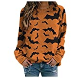XOXSION Damen Langarm Oberteile,Halloween Lustige Fledermaus T-Shirt Lose Elegant Sweatshirt Fashion Casual Tops Herbst Winter Pullover Frauen Tops(Gelb,XL)