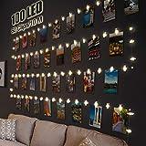 LED Fotoclips Lichterkette für Zimmer Deko, Litogo 10M 100LED Lichterkette mit 60 Klammern für Fotos Lichterkette Wand Batteriebetriebene Lichterkette Bilder für Wohnzimmer, Weihnachten, H