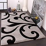 Paco Home Designer Teppich mit Konturenschnitt Modern Grau Schwarz, Grösse:80x150 cm