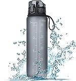 FRETREE Trinkflasche 1L Sport Wasserflasche - [Trinkflasche BPA Frei] Trinkflasche mit rutschfest Gummi Grip Geeignet für Die Fahrrad, Outdoor, Schule, Gym (Mattgrau)