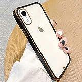 ROSEHUI Crystal Clear Kompatibel mit iPhone Xr Hülle Transparent Handyhülle Luxus Galvanisierte Rahmen [Vergilbungsfrei & Dünn] Weiche Silikon Durchsichtig Schutzhülle,Schwarz