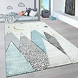 Paco Home Kinderteppich, Kinderzimmer Pastell Teppich mit 3D Wolken u. Stern Motiven, Grösse:140x200 cm, Farbe:C