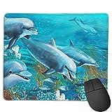 Benutzerdefinierte Office-Mauspad,Die Unterwasser-Delfin-Korallenriff-Zeichnung, Anti-Rutsch-Gummibasis Gaming Mouse Pad Mat Desk Decor 9.5 'x 7.9'