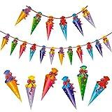 Oblique Unique® Zuckertüten Girlande Hänge Deko für Schuleinführung Einschulung Schulanfang Dekoration Banner Schule Jungs Mädchen bunt