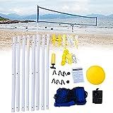 Yius Volleyball-Netz-Set, höhenverstellbar, einfach aufzubauen, zusammenklappbar, für Tennis, Badminton, Sport, Netz mit Ball und Befestigungsnetz für Sommer, Strand, Graspark (wie abgebildet)