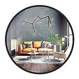 Gold&Chrome Wandspiegel, rund, mit Aluminiumrahmen | Mit Teflon beschichtet Spiegeloberfläche, beständig gegen Feuchtigkeit | Pulverbeschichteter Spiegelrahmen 2 cm tief, leichte Montag