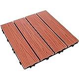 Angoily Hartholz Verriegelung Deck Fliesen Holz Kunststoff Verbund Terrasse Bodenbelag Wasser Beständig Bodenbelag Fliesen für Indoor Outdoor (11. 6X11. 6 Zoll Rot)