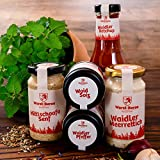 WURSTBARON® Starter Set - Salz, Pfeffer, Meerrettich, Tomaten Ketchup, Mittelscharfer Senf