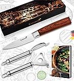 Caridano® Obstmesser Set - 1x Gemüsemesser Holzgriff mit Klingenschutz - 2x Schälmesser - Scharfes Messer für Gemüse mit hochwertiger Stahlklinge - Obst Messerset inkl. 20 Rezepte