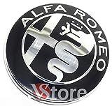 2 Frieze Wappen Kompatibel mit Alfa Romeo Black Spiegel Logo 74mm Front Motorhaube Frontemblem Schwarz 147 156 159 Brera Metal Mito