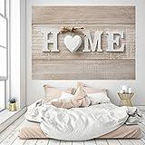 murimage Fototapete Home 3D 183 x 127 cm inklusive Kleister Holz Schild shabby chic Braun Beige Herz Wohnzimmer Schlafzimmer Küche