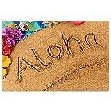 Aloha Hawaii Sand Strand Fußmatte mit robuster PVC-Unterseite, Home Sweet Silikon Anti-Rutsch-Matte für den Außen- und Innenbereich
