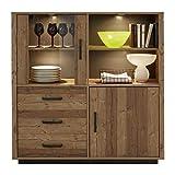 trendteam smart living Wohnzimmer Highboard Schrank Vitrine Lodge, 132 x 134 x 41 cm Bramberg Fichte mit viel Stauraum