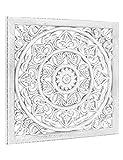 Wandbild Holz Weiß Wandornament 40cm 3D Mandala Boho Marokko Quadrat Wand Dekoration Shabby O