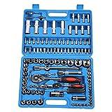JALAL 108 Stück Ratschenschlüsselsatz, Steckschlüsselsatz 1/4in 1/2in CR40 Stahlbuchsensatz Werkzeugkoffer + Box Handwerkzeugsätze