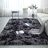 Blivener Soft Touch Area Rug Bedroom Anti-Skid Yoga Carpet Shaggy Rugs Fluffy Motley Tie-dye Carpets Dunkelgrau 120 x 160