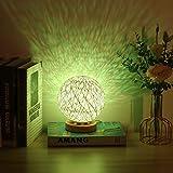 YanFeng Sphärische Kugellampe, Tischlampe Kleine Lampe Rattan-Ball-Tischleuchte USB-betriebenes Holz-Rattan-Kugel-Nachttisch mit handgestricktem Lampenschirm für Schlafzimmer, Valentinstag, Geburtstag