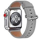 WFEAGL Kompatibel für Watch Armband 38mm 40mm 42mm 44mm, Lederband Ersatzband mit Edelstahl-Verschluss Kompatibel für Serie 5/4/3/2/1(42mm 44mm,Grau+Silber Adapter)