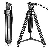 Neewer Professionell Aluminiumlegierung Video Kamera Stativ mit 360 Grad Fluid Drag Kopf, Belastbarkeit bis zu 6 Kilogramm, 155 cm
