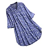 Zegeey Oberteil Damen Lose Bluse Shirt T-Shirt V-Ausschnitt Knopf Plissee Blumendruck LäSsige Tops Tunika Shirt(Himmelblau,46 DE/3XL CN)