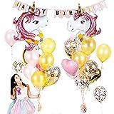 Eeauytr Einhorn Luftballons,Geburtstagsfeier Dekoration Set,Rosa Folie Ballon Partyzubehör für Babys Mädchen