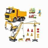 LHY Robuster Spielzeugwagen Baufahrzeug Spielzeug LKW Bagger Spielzeug Kran Kran Spielzeug Kombination Spielzeug langlebig (Farbe: E)