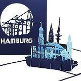 """Pop Up Karte """"Hamburg – Hamburger Hafen Panorama"""" - 3D Grußkarte als Souvenir, Geburtstagskarte & Einladung zur S"""