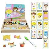 ZoneYan Magnetic Wooden Dress-Up Doll, Magnetisches Holzpuzzles Puzzle-Spiele, Doppelseitiges Puzzle- und Zeichen-Staffelei, Lernspielzeug für Kinder 3+