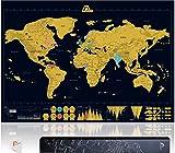 Amazy Weltkarte zum Rubbeln XXL inkl. Rubbelchip + Klebestreifen zur Befestigung an der Wand + Gratis-Packliste (PDF) – Große Rubbel-Landkarte als schöne Erinnerung an bisherige Reisen | Made in Germany (Schwarz | 84 x 59 cm)