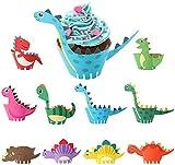 HENTEK 50 Stücke Cupcake Wrappers Dino Cupcake Toppers Wrappers Papier Dinosaurier Kuchenaufsätze Kuchendeckel für Kinder Geburtstag Hochzeit Party Kuchen Muffin Dek