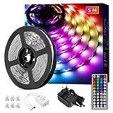 Lepro LED Strip 5M, LED Streifen Lichterkette mit Fernbedienung, Band Lichter, RGB Dimmbar Lichtleiste Light, Lichtband Leiste, Bunt Kette für Party Weihnachten Dek