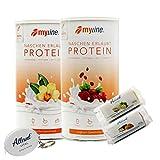 Myline Eiweiß Shake Protein Pulver 2er Pack 2x 400g + AV Maßband + 2 Proteinriegel (Vanille / Cranberry Joghurt)