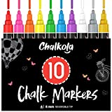 Chalkola 10 Kreidestifte für Tafel & Fenster 6mm | Ideal als Fensterstifte, Kreidestift, Kreidemarker, Folienstift, Glasmalstifte & Whiteboard Marker