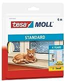 tesamoll STANDARD I-Profil - Schaumstoffdichtung zum Isolieren von Spalten im Haushalt, selbstklebend - Weiß - 6 m x 9 mm x 4