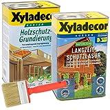 Xyladecor natürliche Langzeitschutzlasur und Grundierung im Set, UV Holz-Lasur auf Basis nachhaltiger Holzöle für außen (2,5L + 2,5L, kiefer)