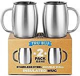 Edelstahl-Kaffee-Tasse mit Deckel, 2er-Set, Premium Doppelwandige Reise-Tassen, Bruchsicher, BPA-Frei, Spritzwasser Abweisender Deckel, Spülmaschinengeeignet, Bequemer Henkel, für Tee, Bier, 400 ml
