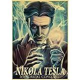 ZzSTX Poster Wissenschaftler Nikola Tesla Retro Leinwand Poster Wohnen Dekoration Spiel Poster Zeichnung Malerei Wandbild 50X70Cm Ungerahmt