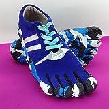 Herren Straßen-Laufschuh Tarnung Traillaufschuhe Outdoor Dicke Sohle Sport Zehenschuhe Trekkingschuhe Zehenschuhe (Color : Blue, Size : 43)