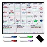 Wochenplaner magnetisch für Kühlschrank Whiteboard Kalender - Mealplanner - Familienplaner – Wochenplaner Abwischbar - Organisieren Sie Ihr Leben, um Stress zu reduzieren